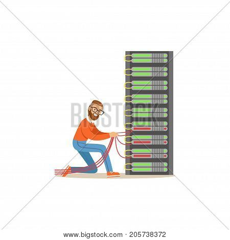 Network engineer administrator working in data center, server rack networking service vector illustration isolated on a white background