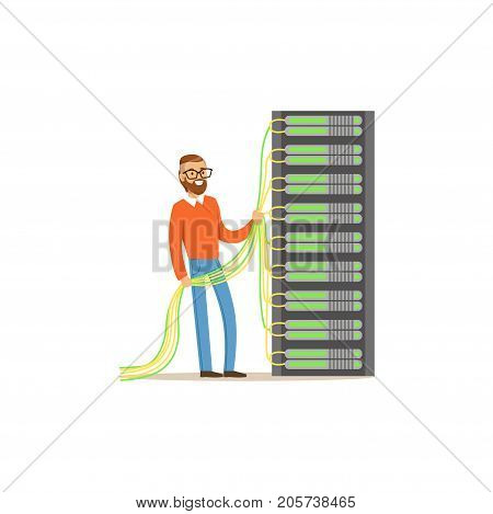 System administrator, server admin working with hardware equipment of data center, server maintenance support vector illustration isolated on a white background