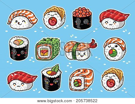 Collection of kawaii rolls and sushi in manga style. Tasty japanese food set. Vector illustration