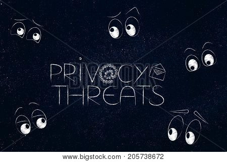 Privacy Threats Text Surrounded By Eyes Staring Or Spying