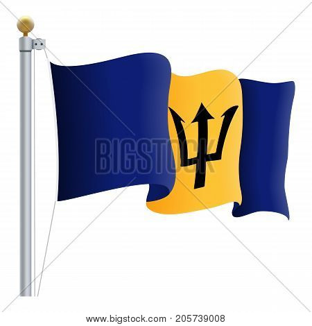 Waving Barbados Flag Isolated On A White Background. Vector Illustration. Official Colors And Proportion. Independence Day