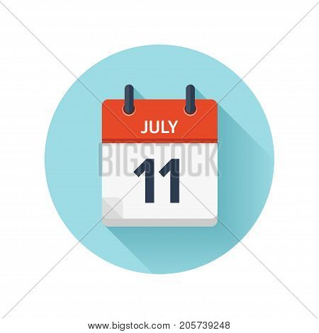 July 11. Vector flat daily calendar icon. Date and time, day, month 2018. Holiday. Season.