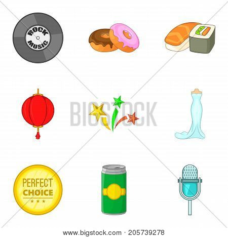 Food for party icons set. Cartoon set of 9 food for party vector icons for web isolated on white background