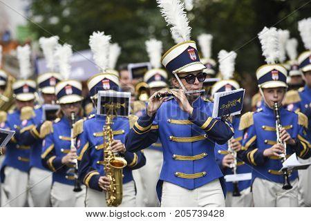 Szczecin Poland 6 august 2017: The Tall Ships Races 2017 crew parade in Szczecin orchestra.