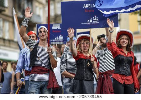 Szczecin Poland 6 august 2017: The Tall Ships Races 2017 crew parade in Szczecin Akela Russia.