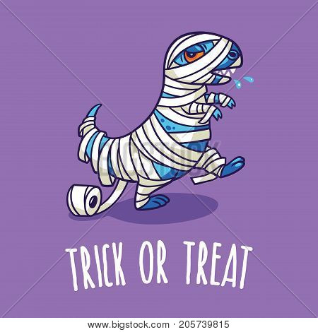 Trick or treat card. Halloween poster with dinosaur in mummy costume. Vector illustration
