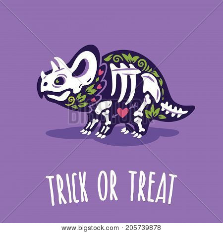 Trick or treat card. Halloween poster with dinosaur in skeleton costume. Vector illustration