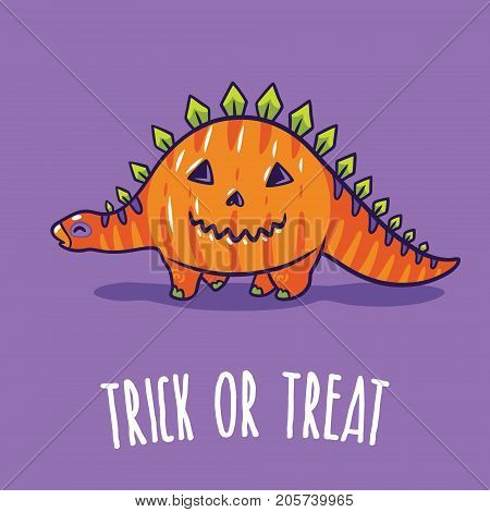 Trick or treat card. Halloween poster with dinosaur in pumpkin costume. Vector illustration