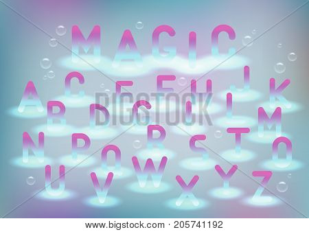 Vector alphabet with magic glow. The subject of the sacrament, childhood and princess, fluids, birthday.