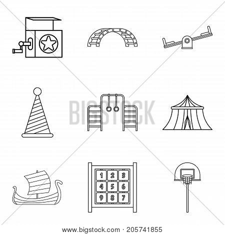 Technical toy icons set. Outline set of 9 technical toy vector icons for web isolated on white background