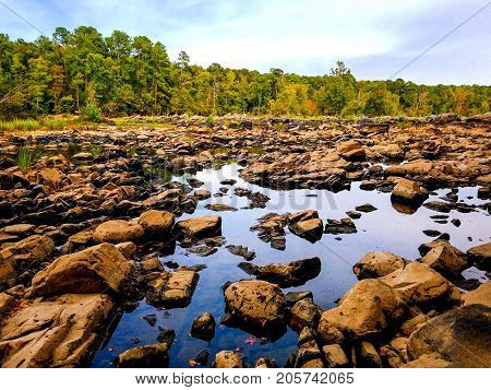 A beautiful rocky riverbed at the Haw River in North Carolina.