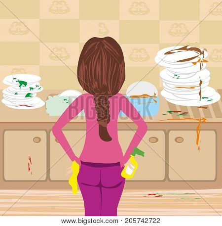 Housewife cleaning dirty kitchen , vector illustration