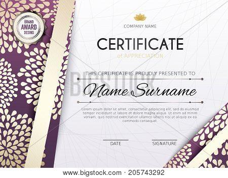 Certificate template with golden decoration element. Design diploma graduation award. Vector illustration.