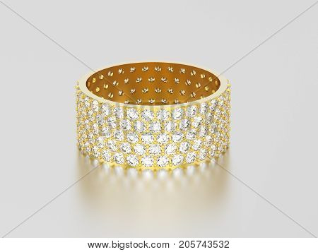 3D illustration yellow gold engagement pave setting with five tiers of round stones ring with diamonds with reflection and shadow on a grey background