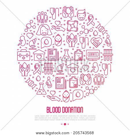 Blood donation concept in circle with thin line icons. World blood donor day. Vector illustration for web page, banner, print media.