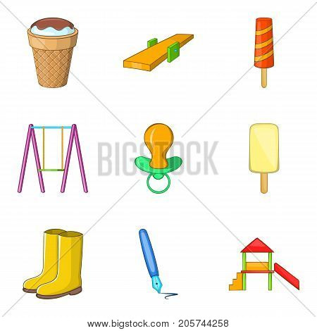 Tyke icons set. Cartoon set of 9 tyke vector icons for web isolated on white background