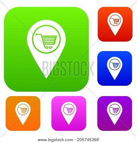 Geo tag with shopping cart symbol set icon color in flat style isolated on white. Collection sings vector illustration