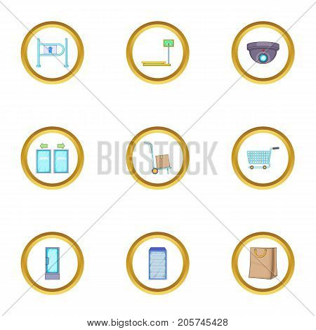 Market icons set. cartoon style set of 9 market vector icons for web design