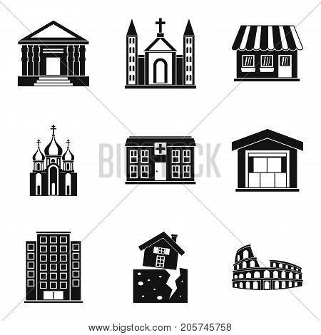Inhabitation icons set. Simple set of 9 inhabitation vector icons for web isolated on white background