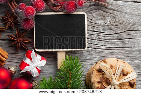 Christmas decoration vintage texture on wooden background
