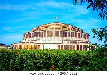 Wroclaw/Poland- August 17, 2017: view of Centennial Hall or Hala Stulecia, designed by architect Max Berg -multifunctional historical construction, hosting exhibitions, concerts, performances, business events and sport competitions