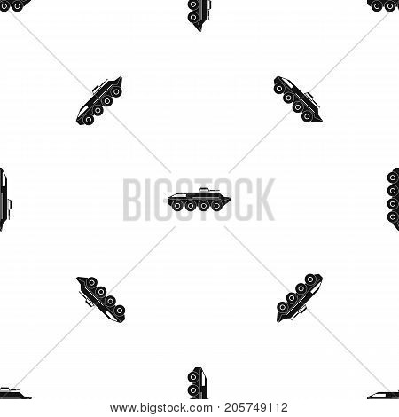 Armored personnel carrier pattern repeat seamless in black color for any design. Vector geometric illustration