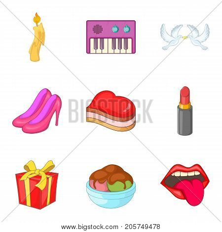 Event icons set. Cartoon set of 9 event vector icons for web isolated on white background