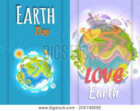 Earth Day banner in colors of small clean and big pollute planet signs. Vector poster of human harmful impact on environment