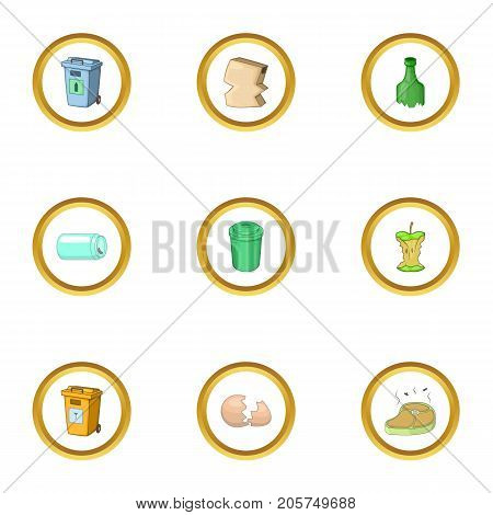 Litter icons set. cartoon style set of 9 litter vector icons for web design