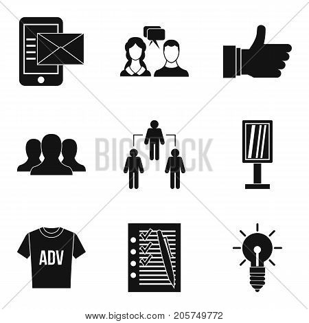 Business strategy icons set. Simple set of 9 business strategy vector icons for web isolated on white background