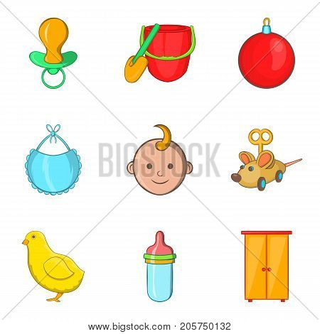 Kiddy icons set. Cartoon set of 9 kiddy vector icons for web isolated on white background