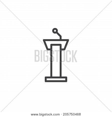 Tribune line icon, outline vector sign, linear style pictogram isolated on white. Symbol, logo illustration. Editable stroke