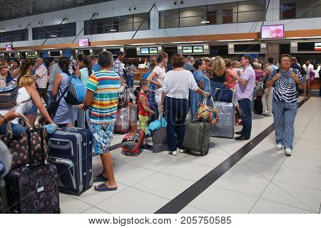 Antalya, Turkey - September 26, 2017: Antalya International Airport, Flight delay, people are waiting for flight