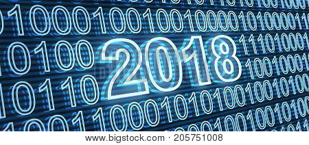 Abstract new year date 2018 on binary background. 3d illustration