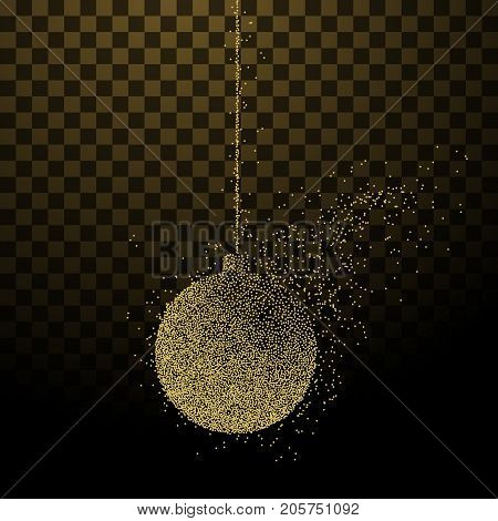 Abstract illustration of a Christmas decoration ball consisting of points and particles on transparent background. Golden New Year symbol.