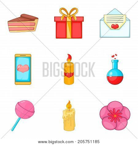 Commemorative event icons set. Cartoon set of 9 commemorative event vector icons for web isolated on white background