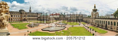 Dresden Germany - August 4 2017: Zwinger - late German Baroque founded in the early 18th century. a complex of four magnificent palace buildings