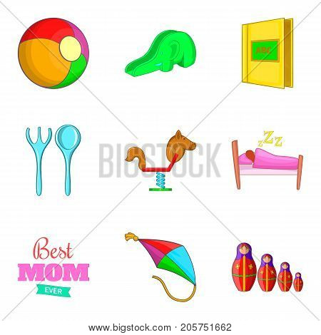 Babycare icons set. Cartoon set of 9 babycare vector icons for web isolated on white background