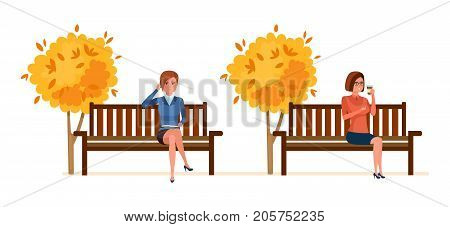 Autumn park of rest, entertainment. Autumn city park with seasonal leaves. Girls resting in park on bench, communicates by phone, drinks hot coffee, on background city buildings. Vector illustration.