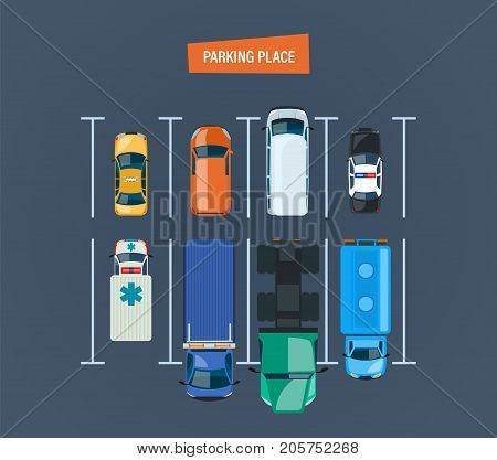 City car parking place concept. Top view of the parking lot, space. Different types cars and urban transportation, auto park on the city street. Vector illustration.