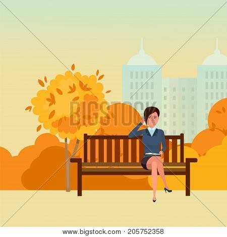 Autumn park of rest, entertainment, walking park. Autumn city park with seasonal leaves. Girl resting in park on the bench, communicates by phone, on background city buildings. Vector illustration.