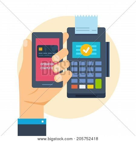Pos terminal. Financial transactions by phone. Hand presses payment button in phone through payment terminal, for successful payment by contactless system. Vector illustration isolated.