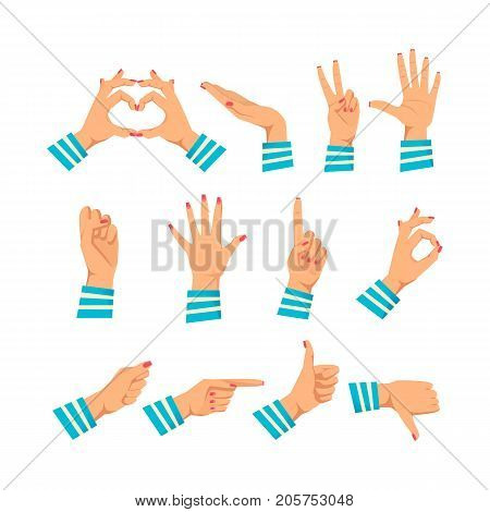 Set of women's hands in different gestures: love and warmth, support, respect, five, protest, stop, attention, ok, excellent, pointer, class deviation Signals woman's hands Vector illustration