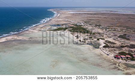 Bonaire Island Caribbean Sea Windsurf Lagoon Sorobon Aerial Drone Top View