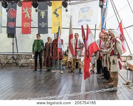 Jerusalem Israel September 23 2017 : Knights - participants of the festival