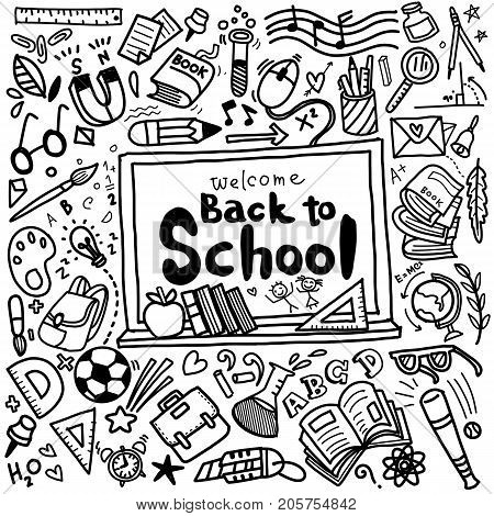 Welcome Back To School Poster With Doodles,vector Illustration.