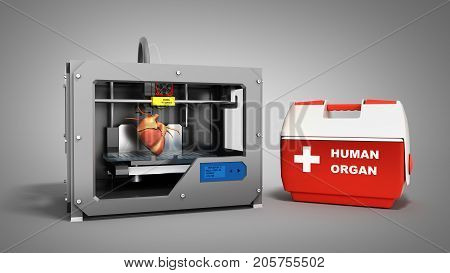 Concept Of Transplantation Process Of Creating Human Hearts Using 3D Printer Illustration Isolated O