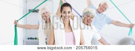 Panorama Of Senior Fitness Class