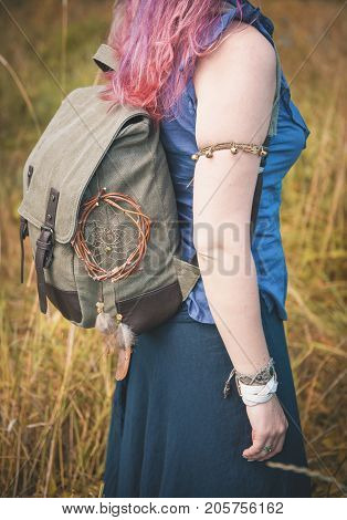 Redhair Woman With Linen Backpack Bag Outdoor. Template Mock Up