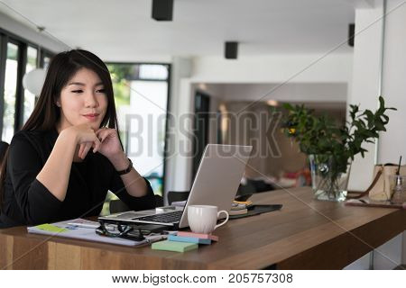 Businesswoman Work With Laptop At Office. Startup Business Owner Use Computer At Workplace. Woman Do
